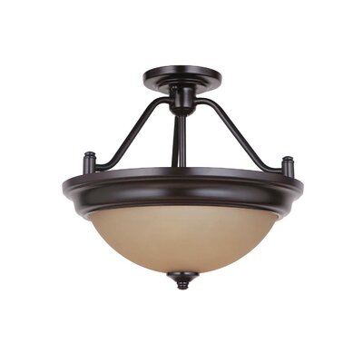 Byron 2-Light Convertible Semi Flush Mount Finish: Oiled Bronze, Shade Color: Amber