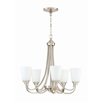Colfax 5-Light Glass Shaded Chandelier Finish: Brushed Polished Nickel