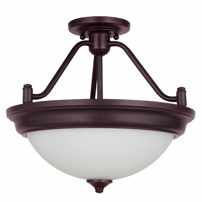 Byron 2-Light Convertible Semi Flush Mount Shade Color: White, Finish: Brushed Polished Nickel