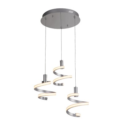 Gabrielle 3-Light LED Cascade Pendant Finish: Matte Silver/Chrome