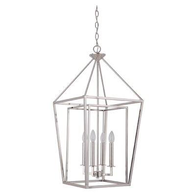 Roodhouse 4-Light Metal Foyer Pendant Finish: Polished Nickel