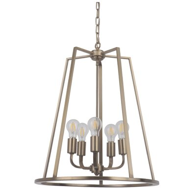 Vera 5-Light Foyer Pendant Finish: Satin Brass