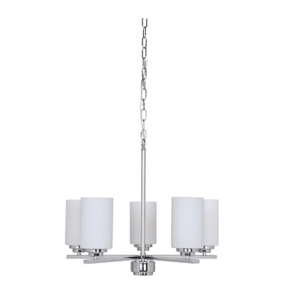 Keisuke 5-Light Shaded Chandelier Finish: Chrome