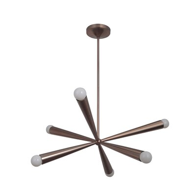 Broomfield 6-Light Sputnik Chandelier Finish: Satin Brass
