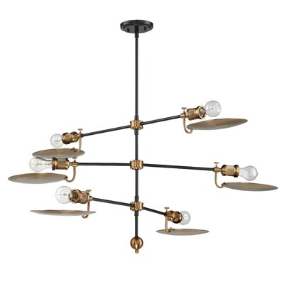 Kaaterskill 6-Light Sputnik Chandelier Finish: Flat Black/Patina Aged Brass