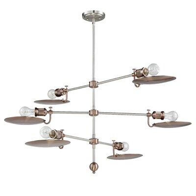 Kaaterskill 6-Light Sputnik Chandelier Finish: Polished Nickel/Satin Rose Gold