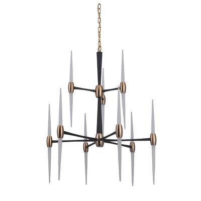 Francesca 9-Light LED Sputnik Chandelier Finish: Flat Black/Satin Brass