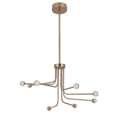Dittrich 8-Light LED Sputnik Chandelier Finish: Satin Brass