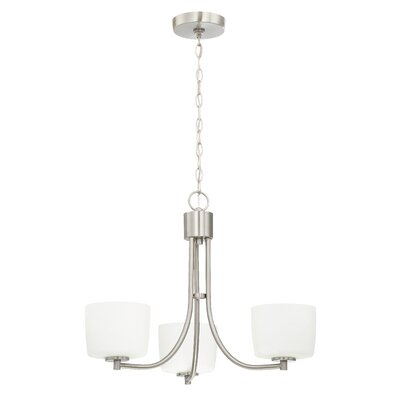 Rosalin 3-Light Shaded Chandelier Finish: Brushed Polished Nickel