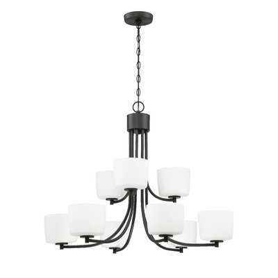 Rosalin 9-Light Shaded Chandelier Finish: Aged Bronze Brushed