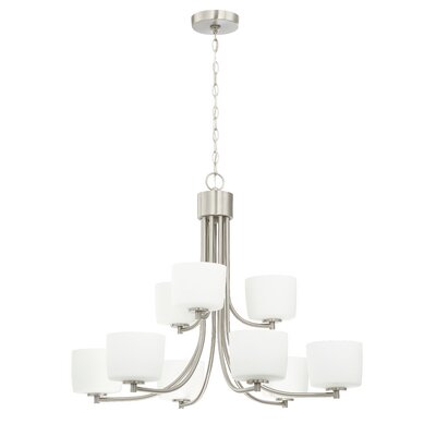 Rosalin 9-Light Shaded Chandelier Finish: Brushed Polished Nickel