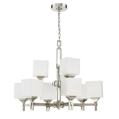 Nippal 9-Light Shaded Chandelier Finish: Brushed Polished Nickel
