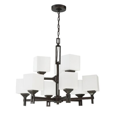 Nippal 9-Light Shaded Chandelier Finish: Oil Bronze Gilded
