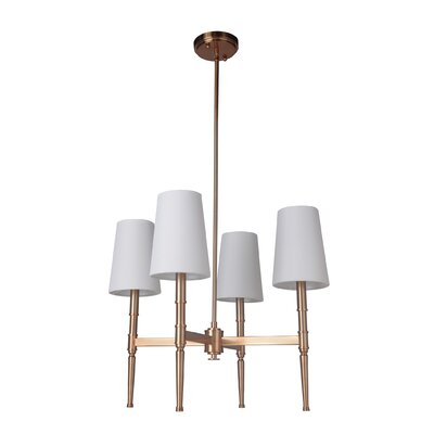 Quinlan 4-Light Shaded Chandelier Finish: Satin Brass