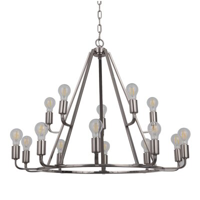 Lysia 15-Light Candle-Style Chandelier Finish: Polished Nickel