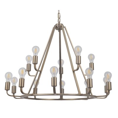 Lysia 15-Light Candle-Style Chandelier Finish: Satin Brass