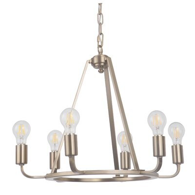 Lysia 6-Light Candle-Style Chandelier Finish: Satin Brass