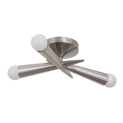 Broomfield 3-Light Semi Flush Mount Finish: Polished Nickel