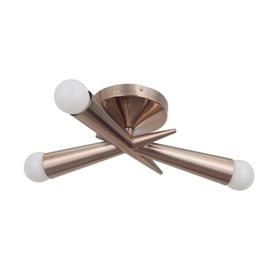 Broomfield 3-Light Semi Flush Mount Finish: Satin Brass