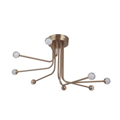 Eudy 8-Light LED Semi Flush Mount Finish: Satin Brass