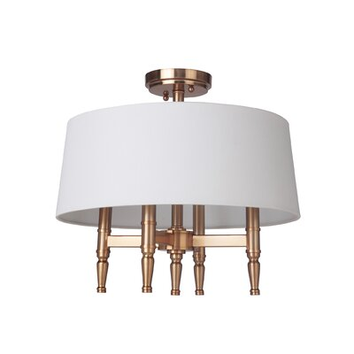 Quinlan 4-Light Semi Flush Mount Finish: Satin Brass