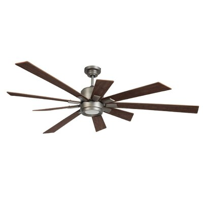 72 Granier Ceiling Fan Kit with Remote Finish: Pewter with Walnut Blades