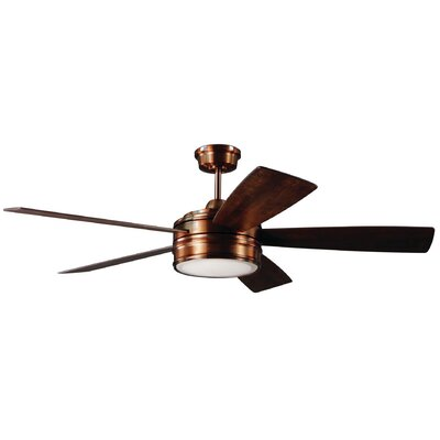 52 Mathers 5 Blade LED Ceiling Fan with Remote Finish: Brushed Copper with Dark Cedar Blades