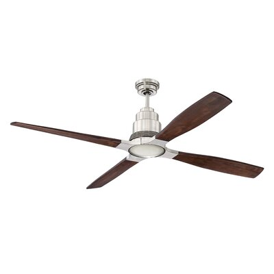 60 Karina 4 Blade Ceiling Fan with Remote Finish: Brushed Polished Nickel with Walnut Blades