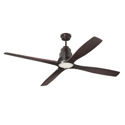 60 Karina 4 Blade Ceiling Fan with Remote Finish: Oiled Bronze