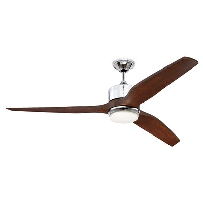 60 Dominique 3 Blade Outdoor LED Ceiling Fan with Remote Finish: Chrome with Walnut Blades