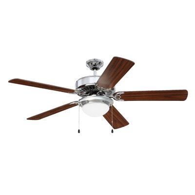 52 Ursa 5 Blade Ceiling Fan Finish: Chrome with Walnut Blades