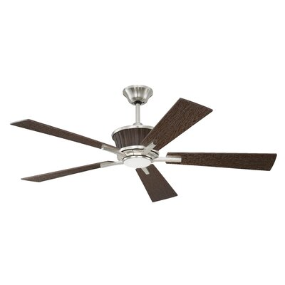 52 Faulkner 5 Blade Ceiling Fan with Remote Finish: Brushed Polished Nickel with Walnut Blades