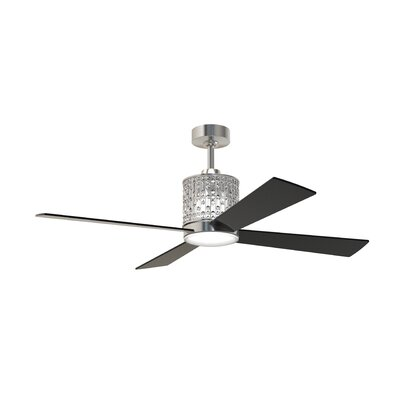 52 Bodella 4 Blade Ceiling Fan with Remote Finish: Brushed Polished Nickel with Black Blades