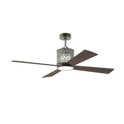 52 Bodella 4 Blade Ceiling Fan with Remote Finish: Espresso with Walnut Blades
