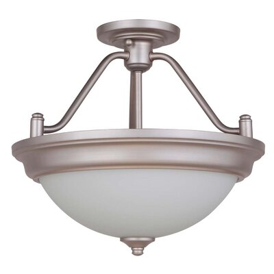 Byron 2-Light Convertible Semi Flush Mount Shade Color: White, Finish: Brushed Satin Nickel