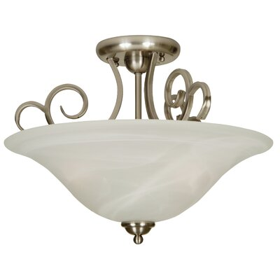 Jeppesen 3-Light Semi Flush Mount Finish: Brushed Nickel