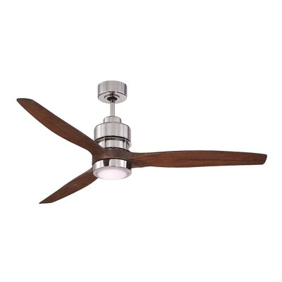 60 Spillman 3 Blade Ceiling Fan with Remote Finish: Chrome with Walnut Blades