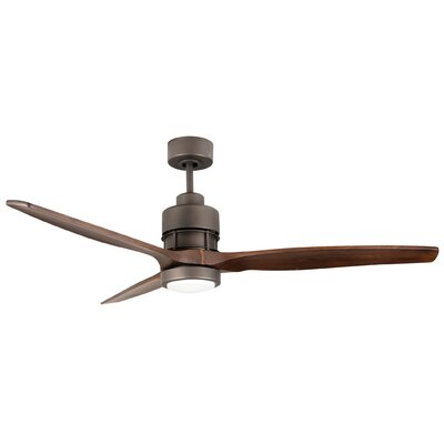 60 Spillman 3 Blade Ceiling Fan with Remote Finish: Espresso with Walnut Blades