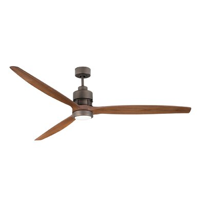 70 Spillman 3 Blade Ceiling Fan with Remote Finish: Espresso with Light Oak Blades