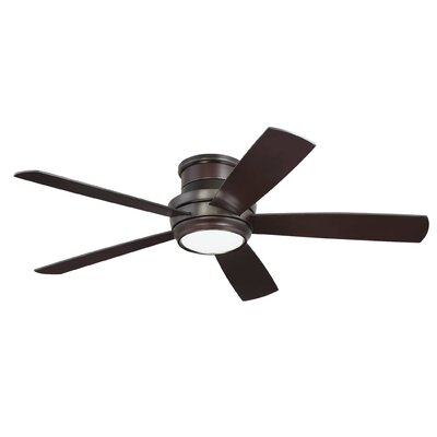 52 Cedarton Hugger 5 Blade Ceiling Fan with Remote Finish: Oiled Bronze with Walnut/Matte Black Blades