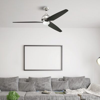 58 Brenda 3 Blade Ceiling Fan with Remote Finish: Polished Nickel with Black Blades