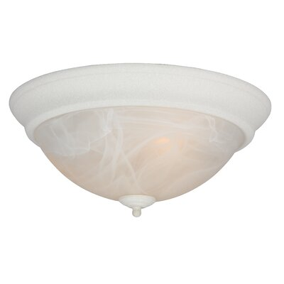 Hymera Arch Pan Alabaster 2 Light Flush Mount Finish: Textured White, Size: 5.5H x 15W