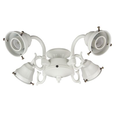 Four Light Ceiling Fan Light  Cast Fitter Color: Antique White