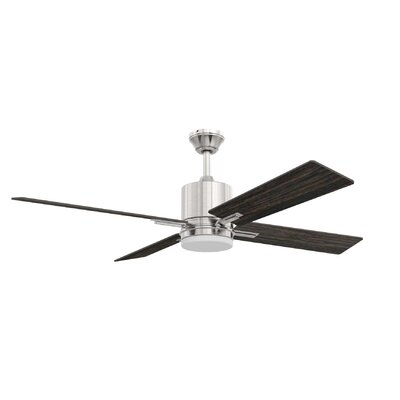 52 Robbs 4 Blade LED Ceiling Fan Finish: Brushed Polished Nickel with Silver/Walnut Blades, Accessories: Without Remote