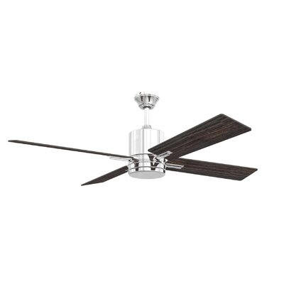52 Robbs 4 Blade LED Ceiling Fan Finish: Chrome with Silver/Walnut Blades, Accessories: Without Remote