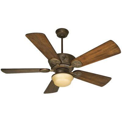 54 Osmond 2-Light 5 Blade Ceiling Fan Fan Finish with Blade Finish: Aged Bronze with Oak Blades