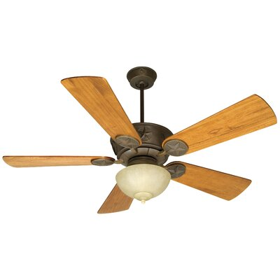 54 Osmond 2-Light 5 Blade Ceiling Fan Fan Finish with Blade Finish: Aged Bronze with Teak Blades