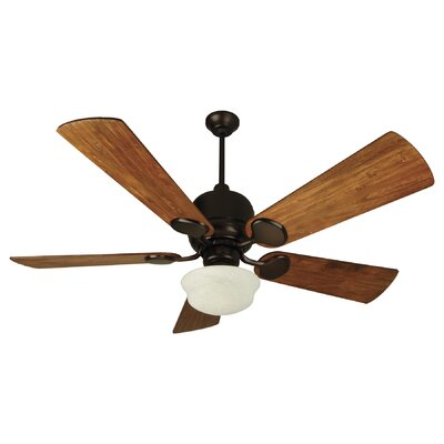 54 Cornelia 5-Blade Ceiling Fan Finish: Oiled Bronze w/ Hand-Scraped Teak Blades & Lights, Size: 54
