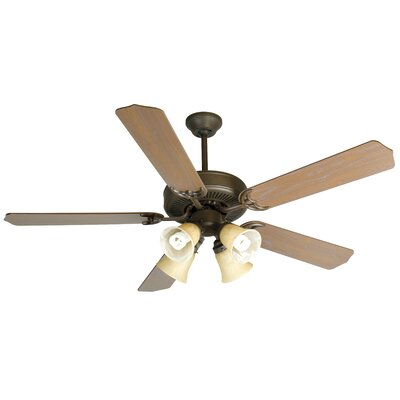 52 Palatine 5 Blade LED Ceiling Fan Fan Finish with Blade Finish: Aged Bronze with Walnut Birch Blades