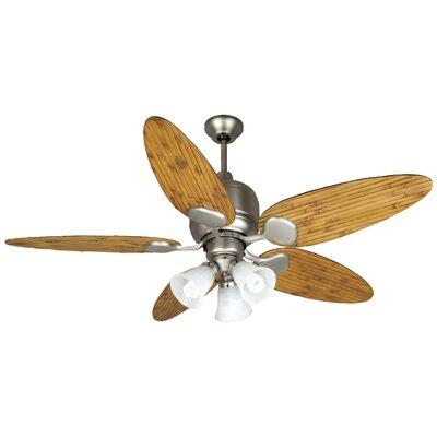 54 Cornelia 5-Blade Ceiling Fan Finish: Brushed Nickel w/ Oak Bamboo Blades, Size: 54